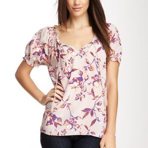 Joie Dusty Pink Silk Floral Blouse